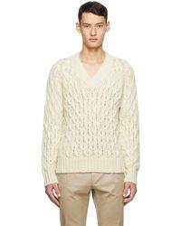 Saint Laurent Off-white Wool & Mohair V-neck Jumper