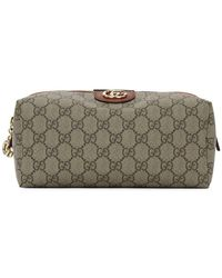 Gucci Beige And Red Medium Ophidia Cosmetic Pouch