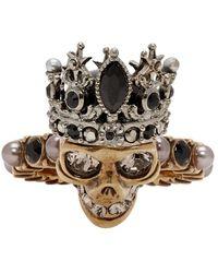 Alexander McQueen Gold And Silver Queen Ring - Metallic