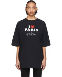 Vetements Ssense 限定 ブラック I Love Paris T シャツ