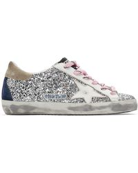 Golden Goose Deluxe Brand Silver And White Glitter Superstar Trainers - Metallic