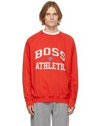 BOSS by HUGO BOSS Russell Athletic エディション レッド Stedman スウェットシャツ
