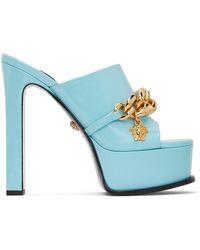 Versace ブルー チャンキー ヒール チェーン サンダル
