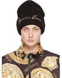 Versace ブラック ウール Gv シグネチャ ビーニー