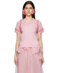 Noir Kei Ninomiya - ピンク Tulle Sleeves T シャツ - Lyst