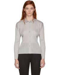 Pleats Please Issey Miyake - Off-white Basics Pleated Shirt - Lyst