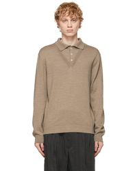 Lemaire Beige Wool V-neck Long Sleeve Polo - Natural
