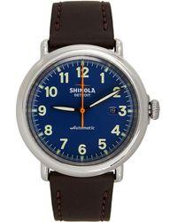 Shinola ブルー & ブラウン The Runwell Chrono 41mm クロノグラフ 腕時計