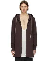 Rick Owens Burgundy Zip-up Hoodie - Multicolour