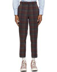 Beams Plus Pantalon à carreaux bourgogne Ankle-Cut - Multicolore