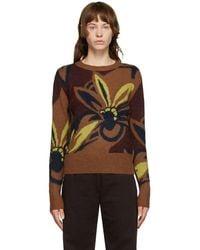 Dries Van Noten ブラウン フローラル オーバーサイズ セーター