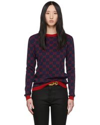 a3750ba5203 Lyst - Gucci Print Embroidered Spaceship Sweater In Red in Red