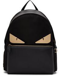 Fendi Black Leather Bag Bugs Backpack