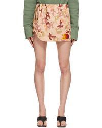 The Attico - Beige Camouflage Giana Miniskirt - Lyst