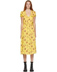 R13 Yellow Floral Mid-length Dress
