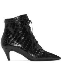 Saint Laurent ブラック クロコ キキ ブーツ