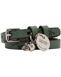 Alexander McQueen - Green Dancing Skeletons Double Wrap Bracelet - Lyst