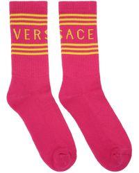 Versace ピンク 1990s' ビンテージ ロゴ ソックス