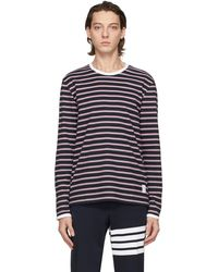 Thom Browne Navy & Red Ringer Long Sleeve T-shirt - Blue