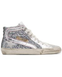 Golden Goose Deluxe Brand Silver And Pink Glitter Slide Trainers - Metallic