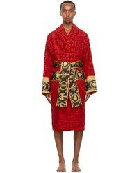 Versace Red Barocco Robe