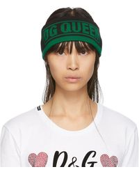 Dolce & Gabbana グリーン And ブラック Dg Queen ヘッドバンド - ブルー