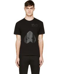 Play Comme des Garçons - Black Upside Down Heart T-shirt - Lyst