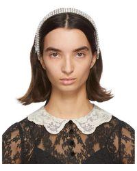 Gucci Silver Crystal Headband - Brown