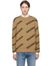 Balenciaga Beige And Black Jacquard Logo Sweater - Natural