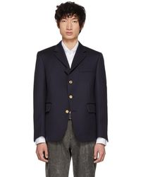 Thom Browne - Navy Four-button Pintuck Single-breasted Blazer - Lyst