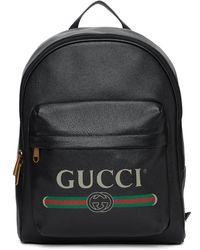 Gucci グッチ プリント レザー バックパック - ブラック