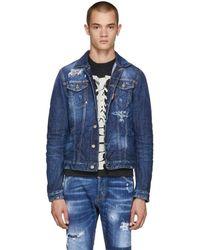 DSquared² - Blue Contrast Denim Jacket - Lyst