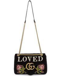 Gucci - Black Velvet Medium 'loved' Gg Marmont 2.0 Bag - Lyst