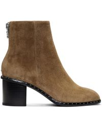 Rag & Bone - Tan Suede Willow Stud Boots - Lyst
