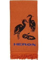 Heron Preston ブラック And オレンジ ダブル カラー マフラー