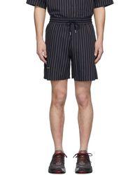 Han Kjobenhavn Navy Striped Track Shorts - Blue