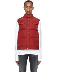 DSquared² Red Down Quilted Vest