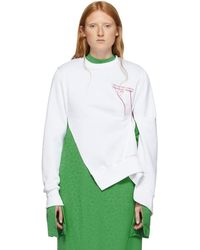 ROKH ホワイト ピンチ ディテール ロゴ スウェットシャツ