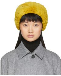 Yves Salomon Yellow Rex Rabbit Fur Headband - Multicolor