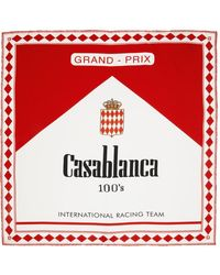 CASABLANCA ホワイト & レッド シルク 100's スカーフ