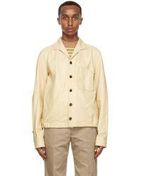 Marni Tan Matte Leather Jacket - Natural