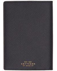 Smythson Navy Panama Passport Holder - Blue