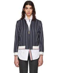 Thom Browne - Navy Bold Stripe Classic Varsity Jacket - Lyst