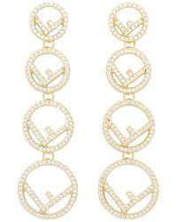 Fendi Gold F Is Earrings - Metallic