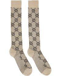Gucci Beige & Black Lamé GG Socks - Natural