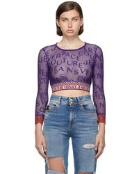 Versace Jeans Couture パープル ロゴ クロップド ロング スリーブ T シャツ