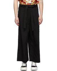 Naked & Famous Pantalon oxford ample noir exclusif à SSENSE