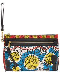 COACH Keith Haring エディション マルチカラー Mickey ポーチ - ブルー
