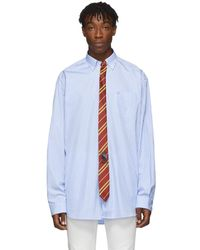 Vetements - Blue And White Stripe Tie Shirt - Lyst