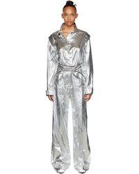Off-White c/o Virgil Abloh Silver Racing Loose Jumpsuit - Metallic